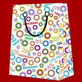 Shopping bag with sale announcements
