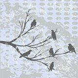 Winter landscape with crows