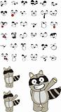 raccoon plush cartoon set1
