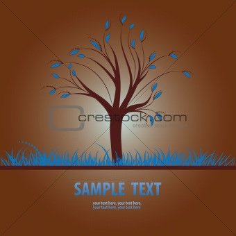 Card design with stylized tree and grass