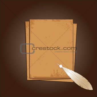 Old paper with feather. Grunge background.