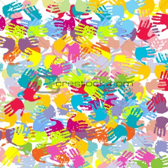 Abstract colored hands background