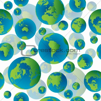 Abstract seamless pattern with Earth globes, no transparency