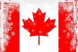 Canadian flag with snowflakes grunge