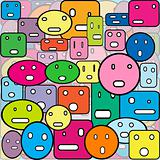 Colored background with faces made of geometrical shapes