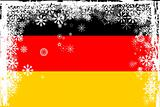 German flag with snowflakes grunge