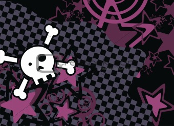 skull cartoon stars background1