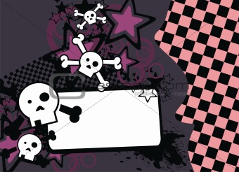 skull cartoon stars background2