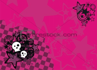 skull cartoon stars background3