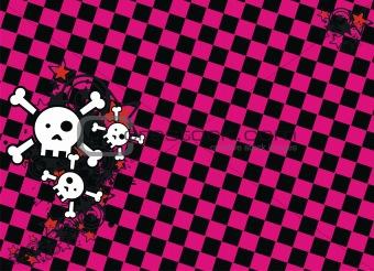 skull cartoon stars background4