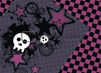 skull cartoon stars background5