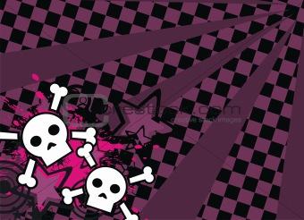skull cartoon stars background6