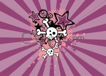skull cartoon stars background7
