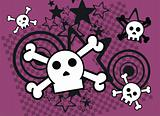 skull cartoon stars background9
