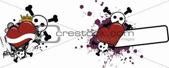 cartoon skull and heart 2