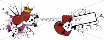 cartoon skull and heart 4