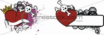 cartoon skull and heart 10