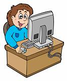 Cartoon boy working with computer