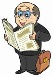 Cartoon businessman with newspaper