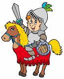 Cartoon knight sitting on horse