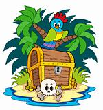 Pirate island with treasure chest