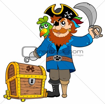 Pirate with old treasure chest