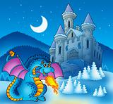 Big blue dragon with winter castle