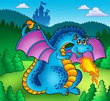 Big blue fire dragon with old castle
