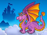 Big purple dragon near castle