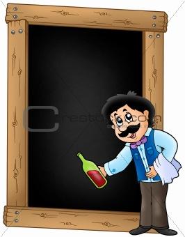 Blackboard with waiter serving wine