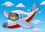 Cartoon aviator on blue sky