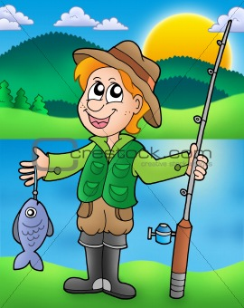 Cartoon fisherman with fish