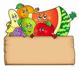 Cartoon fruits holding wooden table