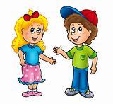 Cartoon happy girl and boy
