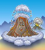 Erupting cartoon volcano