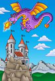 Flying dragon with castle on hill