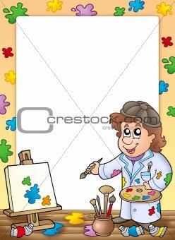 Frame with cartoon artist