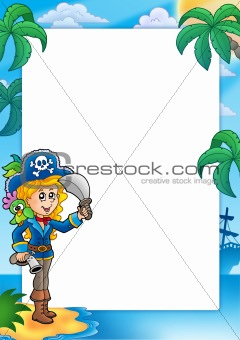 Frame with pretty pirate girl