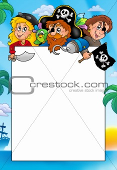 Frame with three cartoon pirates