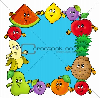 Frame with various cartoon fruits