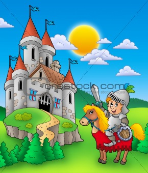 Knight on horse with castle