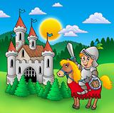 Knight on horse with old castle