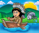 Native American Indian in boat