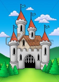 Old medieval castle in landscape