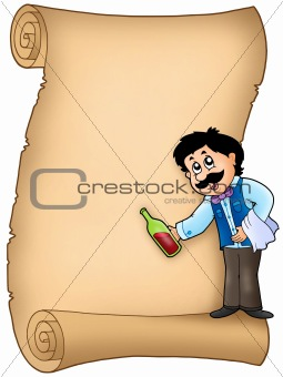 Parchment with waiter serving wine