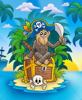 Pirate monkey on treasure island