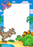 Prehistoric frame with dinosaurs