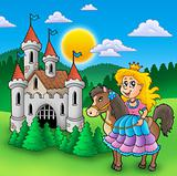 Princess on horse with old castle