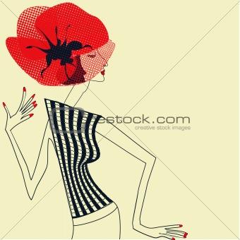 Beautiful girl with poppy flower