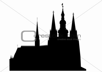 Prague castle - Cathedral of Saint Vitus - vector